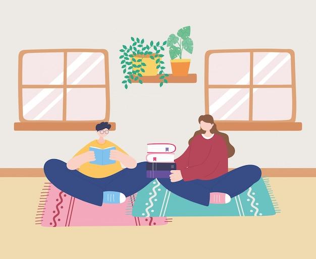 Blijf thuis, man leesboek en meisje met boeken op de vloer, zelfisolatie, activiteiten in quarantaine voor coronavirus