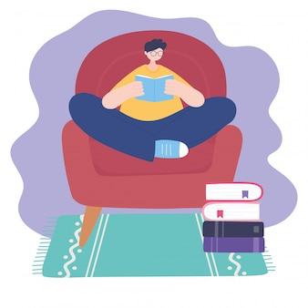 Blijf thuis, man leesboek over stoel, zelfisolatie, activiteiten in quarantaine voor coronavirus