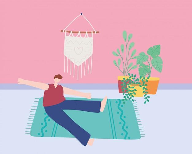 Blijf thuis, man oefent oefeningen in de kamer, zelfisolatie, activiteiten in quarantaine voor coronavirus
