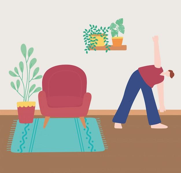 Blijf thuis, man rekoefening in de kamer, zelfisolatie, activiteiten in quarantaine voor coronavirus