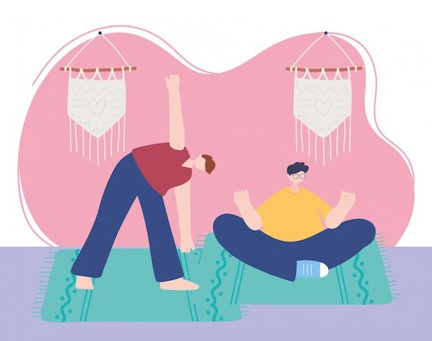Blijf thuis, mannen die yoga beoefenen in de kamer, zelfisolatie, activiteiten in quarantaine voor coronavirus