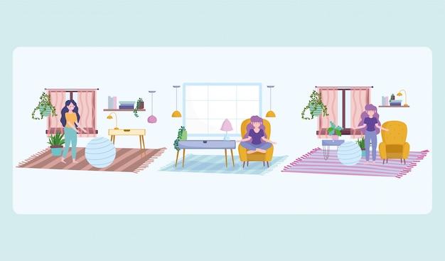 Blijf thuis, meisje in actieve levensstijl tijdens zelfisolatie en quarantaineperiode
