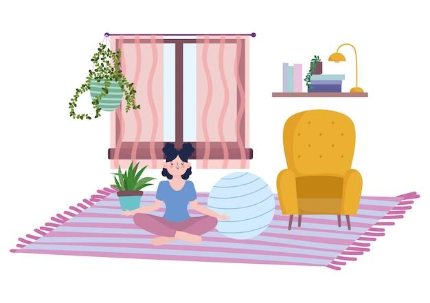 Blijf thuis, meisje in meditatie met fitte bal in de kamer, zelfisolatie, activiteiten in quarantaine voor coronavirus