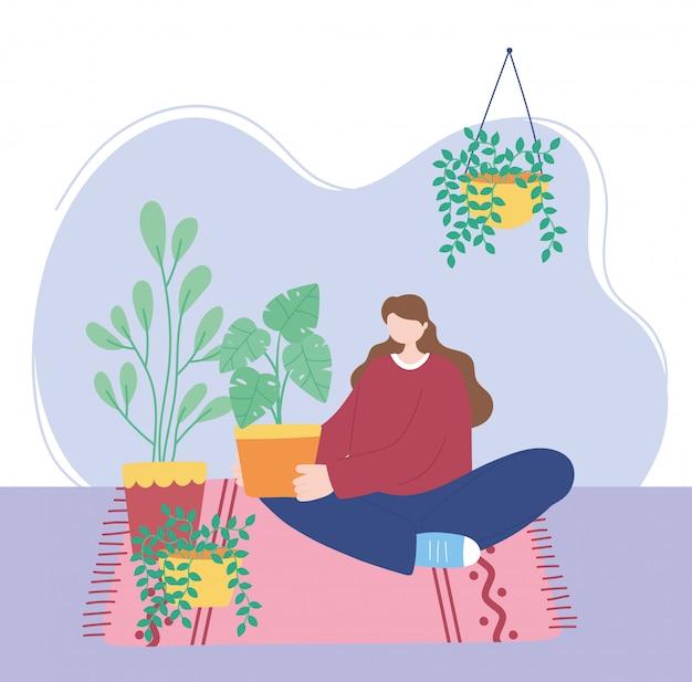 Blijf thuis, meisje met kamerplanten zittend op de vloer, zelfisolatie, activiteiten in quarantaine voor coronavirus