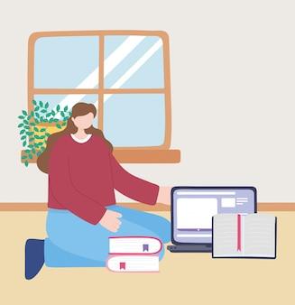 Blijf thuis, meisje met laptop en boeken in de kamer, zelfisolatie, activiteiten in quarantaine voor coronavirus