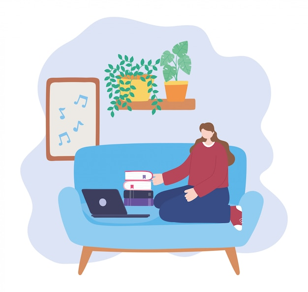 Blijf thuis, meisje met laptop en stapel boeken in de kamer, zelfisolatie, activiteiten in quarantaine voor coronavirus
