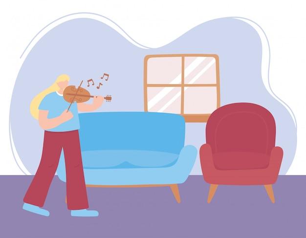 Blijf thuis, meisje speelt viool in de kamer, zelfisolatie, activiteiten in quarantaine voor coronavirus