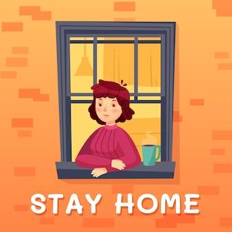 Blijf thuis. meisje zelfisolatie in kamer met kopje koffie, gevelraam, quarantaine in appartement tegen covid-19. illustratie