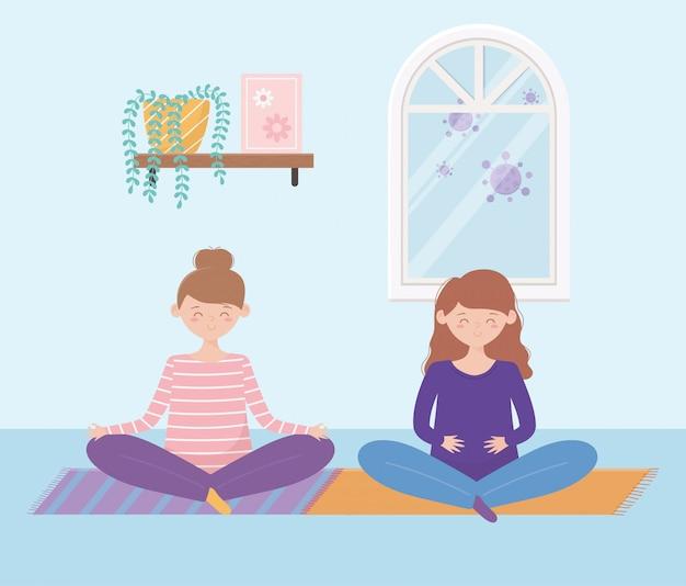 Blijf thuis, meisjes die yoga-meditatie beoefenen op de mat in de kamer