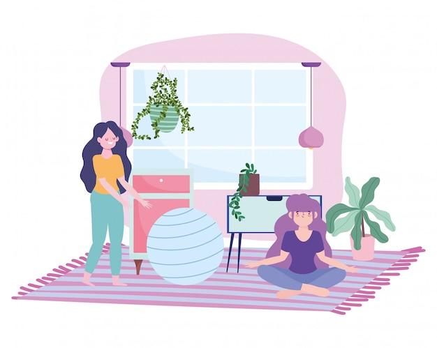 Blijf thuis, meisjes in de kamer met fitnessbalplanten, zelfisolatie, activiteiten in quarantaine voor coronavirus