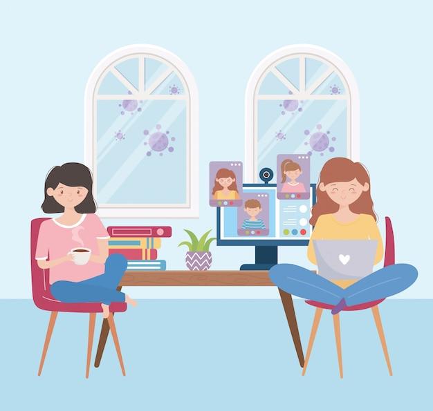 Blijf thuis, meisjes met laptop en koffiekop in online vergadering