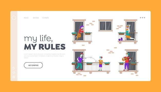 Blijf thuis mensen personages op balkons tijdens coronaviruspandemie
