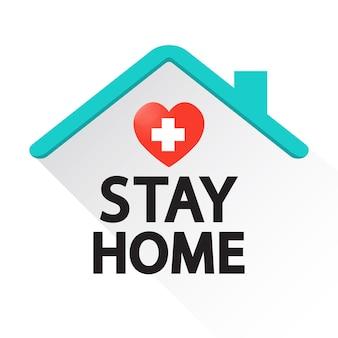 Blijf thuis met hart. coronavirus, motiverende zin in quarantaine.