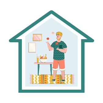 Blijf thuis met man karakter leren jongleren illustratie