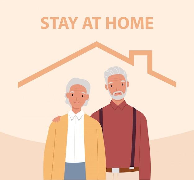 Blijf thuis. oude man en vrouw in het huis. concept voor het beheersen van de ziekte in 2019-ncov. illustratie in een vlakke stijl