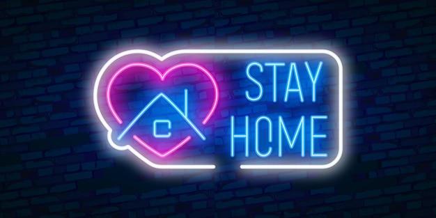 Blijf thuis pictogram met huis. beschermingscampagne of maatregel tegen coronavirus, covid - 19.