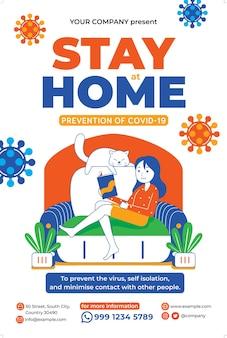 Blijf thuis poster in platte ontwerpstijl