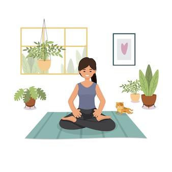 Blijf thuis, quarantaine, mensen thuis, kamer of appartement, meisje beoefent yoga
