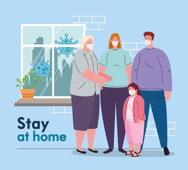 Blijf thuis, quarantaine of zelfisolatie, familie met medisch masker, preventie en gezondheidsconcept