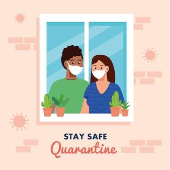 Blijf thuis, quarantaine of zelfisolatie, gevel met raam en jong stel kijken uit huis, blijf veilig quarantaineconcept.