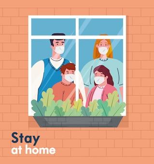 Blijf thuis, quarantaine of zelfisolatie, gevel met raam, gezin met medisch masker kijkt uit huis