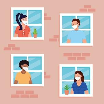 Blijf thuis, quarantaine of zelfisolatie, gevel met ramen en mensen kijken uit huis, blijf veilig quarantaineconcept.