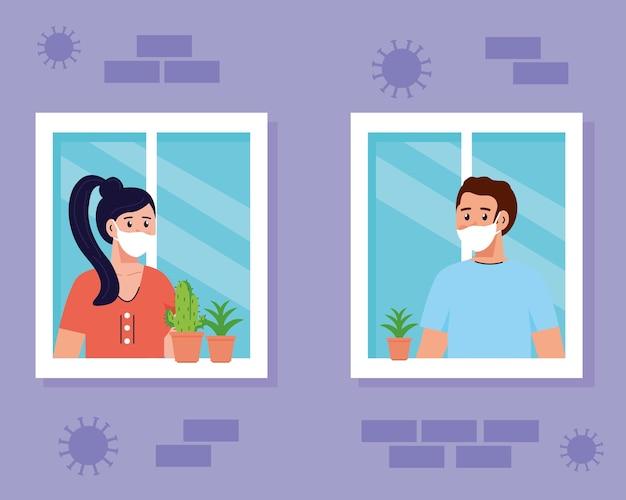 Blijf thuis, quarantaine of zelfisolatie, gevel met ramen en paar kijken uit huis, blijf veilig quarantaineconcept.