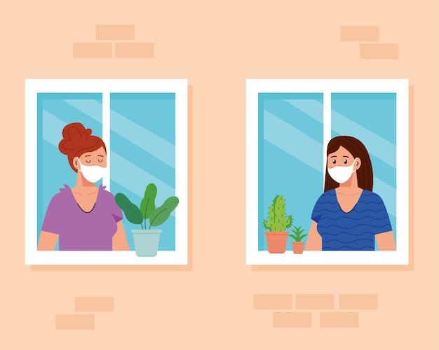 Blijf thuis, quarantaine of zelfisolatie, gevel met ramen en vrouwen kijken uit huis, blijf veilig quarantaineconcept.
