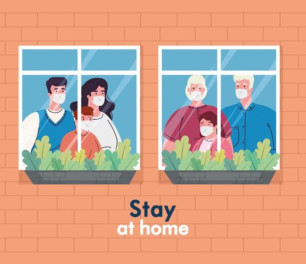 Blijf thuis, quarantaine of zelfisolatie, gevel met ramen, familie met medisch masker kijkt uit huis