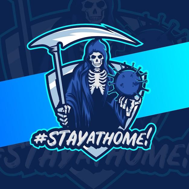 Blijf thuis, reaper-schedel met coronavirusziekte 19 of covid-19, mascotte esport logo-ontwerp