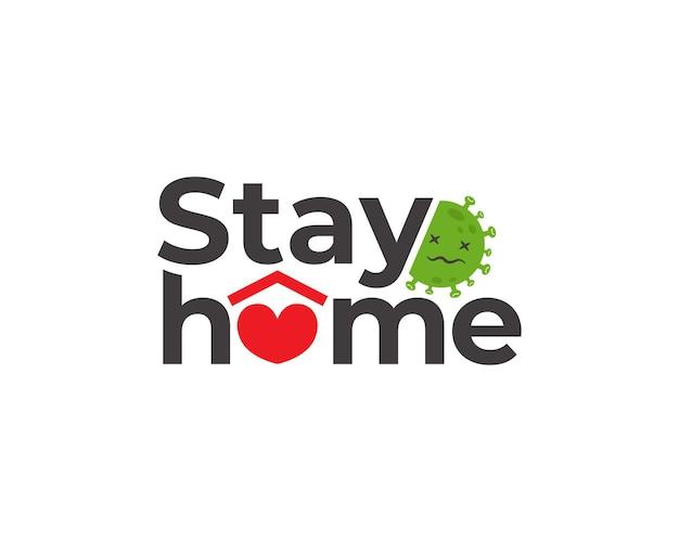 Blijf thuis, red levens doodle illustratie