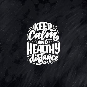 Blijf thuis slogan - belettering typografie poster met tekst