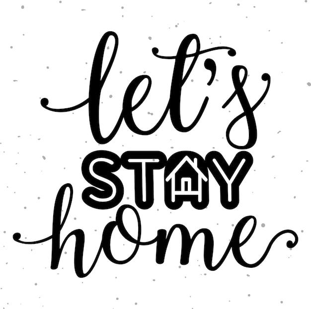 Blijf thuis slogan met huis en hart erin beschermingscampagne of maatregel tegen coronavirus