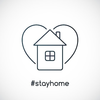 Blijf thuis slogan met huis en hart
