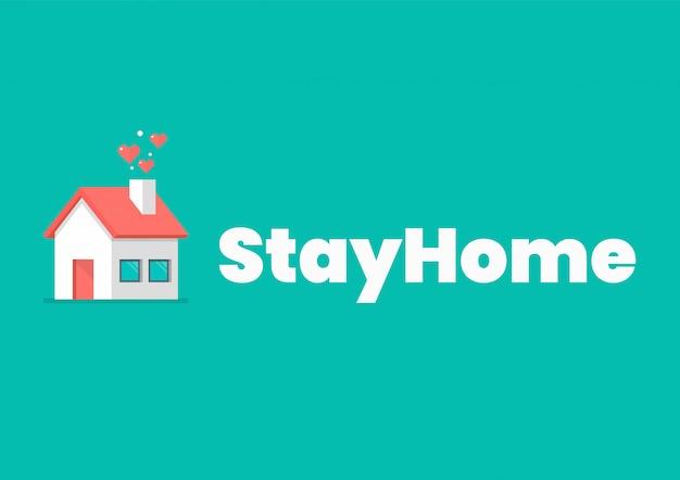 Blijf thuis slogan met huisje