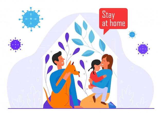 Blijf thuis, slogan voor coronavirus, covid quarantaine karakter platte vector illustratie concept