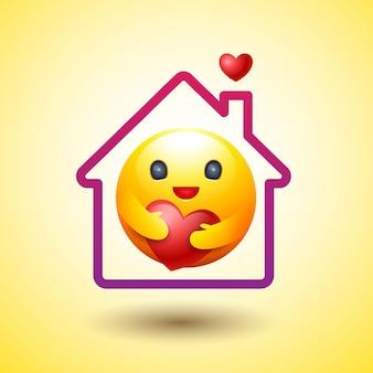 Blijf thuis, sociale afstand, smiley-pictogram, zorgzame emotie.