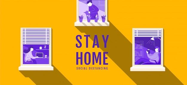 Blijf thuis, sociale afstand, stop covid-19-concept, mensen die afstand houden voor infectierisico en ziekte, coronavirus, stripfiguur, illustratie.