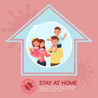 Blijf thuis, stop coronavirus concept character design no3