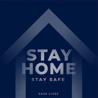 Blijf thuis tekst met het ontwerp van het huissymbool