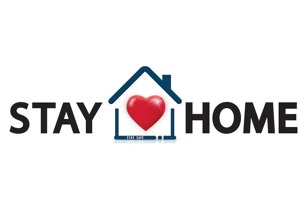 Blijf thuis tekst onder huisdak met hart. covid 19 of logo voor coronavirusbescherming.