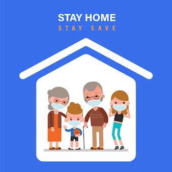 Blijf thuis tijdens de coronavirusepidemie. familie thuis blijven in zelfquarantaine, bescherming tegen virussen. coronavirus concept van uitbraak. illustratie in platte ontwerp stijl cartoon.