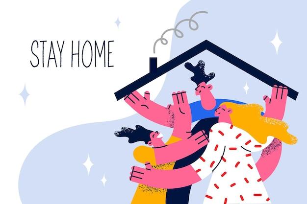 Blijf thuis tijdens het pandemische concept. jonge lachende familie met kind knuffelen thuis blijven onder dak tijdens covid-19 epidemie samen met belettering vectorillustratie