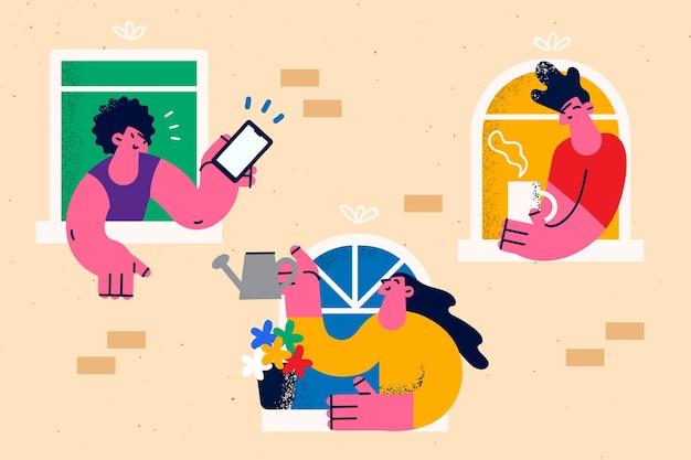 Blijf thuis tijdens quarantaineconcept. jongeren die uit ramen kijken met smartphones die elkaar begroeten tijdens covid-19 epidemische vectorillustratie