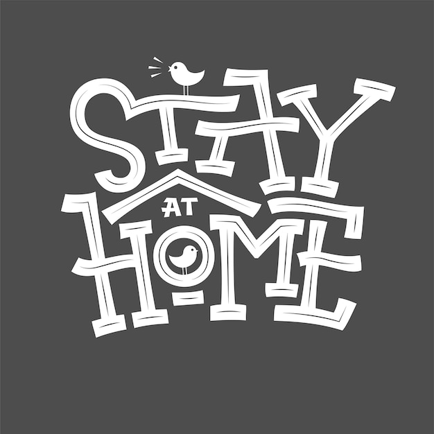 Blijf thuis typografie illustratie