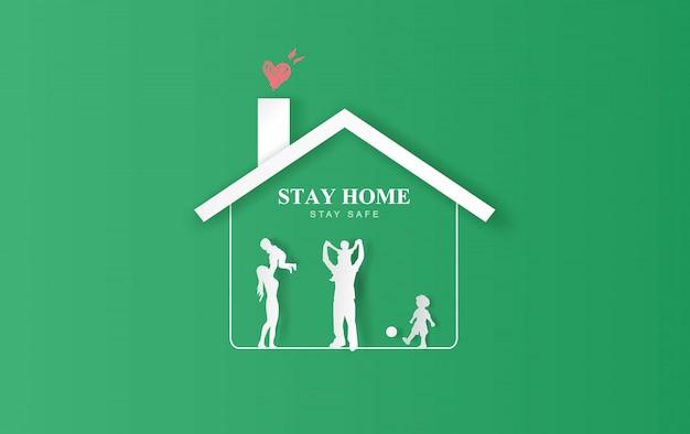 Blijf thuis, verblijf op eco-achtergrond. blijf veilig met het thuispictogram tegen het virus. gelukkig familieconcept van quarantaine en thuis blijven. covid-19 awareness.space voor uw tekstbanner website vector