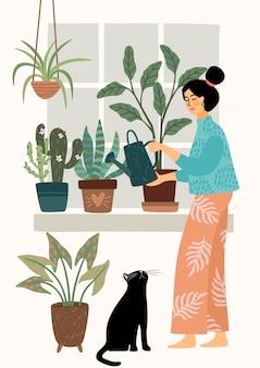 Blijf thuis. vrouw kamerplant water geven. illustratie.