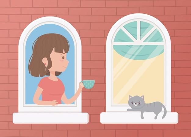 Blijf thuis, vrouw met koffiekopje en kat in het raam