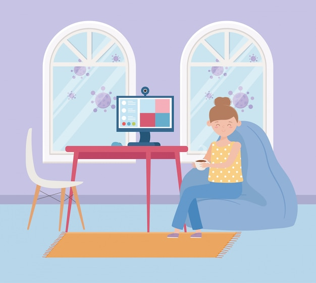 Blijf thuis, vrouw met koffiekopje in de kamer met computervideo