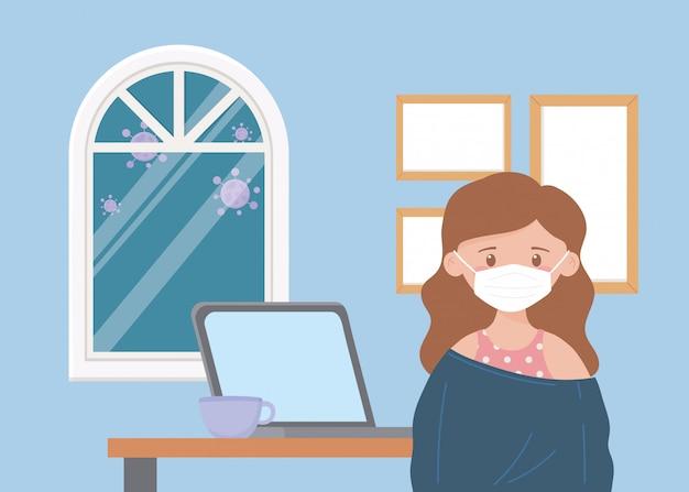 Blijf thuis, vrouw met masker laptop koffiekopje in de kamer